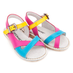 Kids' Cross Over leather sandals in Tutti Frutti