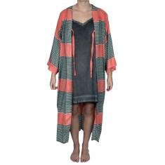 Stripe 100% cotton kimono
