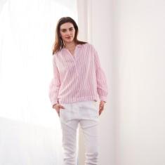 Raspberry stripe balloon sleeve shirt
