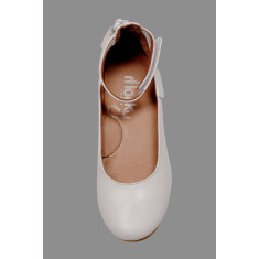 Ankle strap ballet flats in ivory