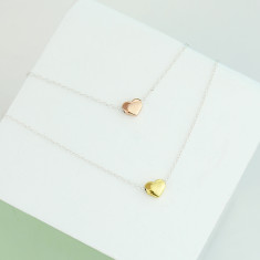 Sterling Silver And Gold Heart Necklace