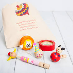 Five Traditional Girls Toys With Personalised Bag