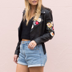 Izzy Embroidered Biker Leather Jacket