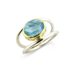 Aquamarine Ring Set in Gold on Silver Split Band Ring