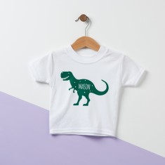 T Rex Personalised Dinosaur Baby T Shirt