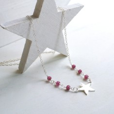 Personalised Sterling Silver Little Star and Pink Tourmaline Necklace