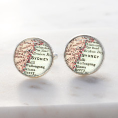 Sydney city map silver cufflinks