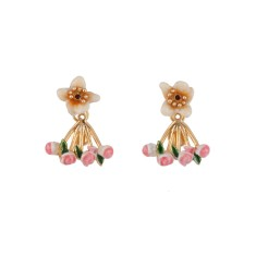 Good Fortune Flower and Roses Clasp Earrings