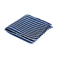 Silk pocket square in blue bike chain design