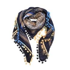 Louise silk scarf with pom pom trim