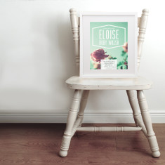 Personalised polaroid photo baby name & birth art print