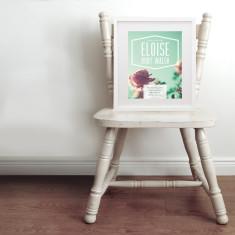 Personalised polaroid photo baby name & birth art print