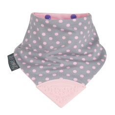 Neckerchew dribble bib in Polka Dot Pink print