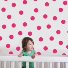 Hot pink dots wall decal