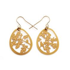 Gold fig tree earrings