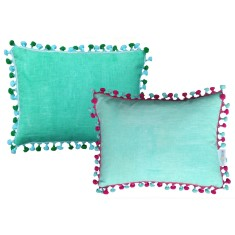 Tassel pompom trim cushion (green or aqua)