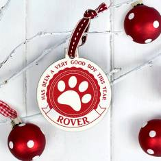 Personalised 'Good Boy' Pet Pawprint Christmas Bauble