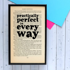 Mary Poppins Practically Perfect quote - book page print