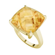 Citrine yellow gold ring
