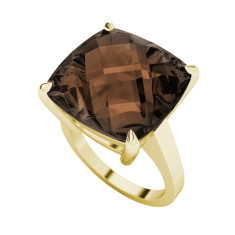 Smoky quartz yellow gold ring
