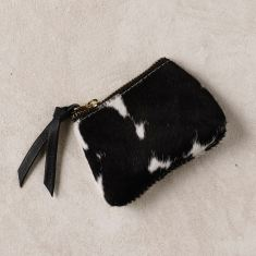 Coin purse in black and white cowhide
