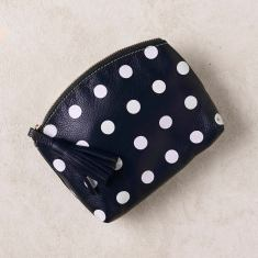 Marie clutch in navy polka dots
