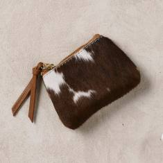 Coin purse in natural tan cowhide