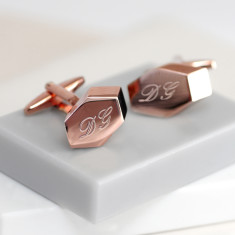 Personalised Rose Gold Geometric Cufflinks