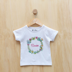 Girls' personalised springtime floral wreath t-shirt