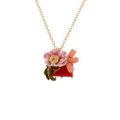 Pink Flower and Red Stone Necklace