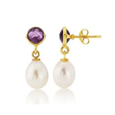 Amethyst Stud Earrings with Drop Pearl