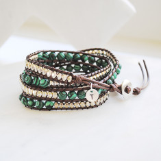 Personalised natural stone & leather wrap bracelet in malachite brown & silver