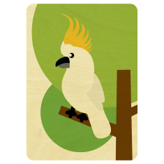 Cockatoo wooden card