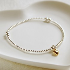 Silver Bead Bracelet with Tiny Gold Heart Charm
