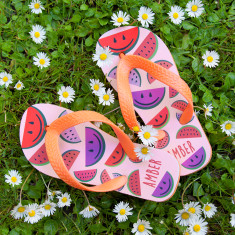 Wild Watermelon Child's Personalised Thongs