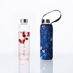 Glass is greener bottle 570ml with carry cover in bloom print