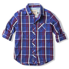 Boys Navy & Red Multi-checked Shirt