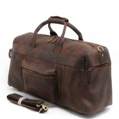 Leather travel bag in vintage brown