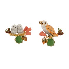 Mother barn owl and her babies asymmetrical earrings