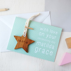 Personalised Christening Star Keepsake Card