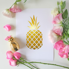 Pineapple gold foil print