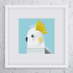Hello cocky bird art print