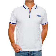 Classic white men's polo with zipper