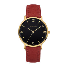 Women's Gold Black Red Suede Leather Watch