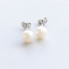 Freshwater pearl sterling silver earrings in white or pink