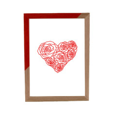 Geometric heart of roses framed print