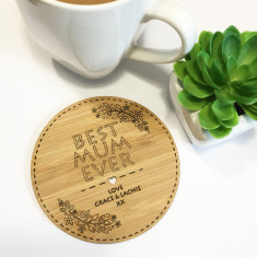 Floral etched personalised drink coaster