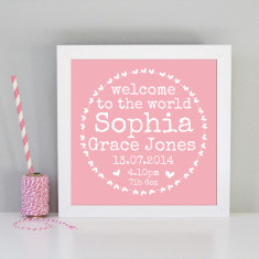 Personalised framed new baby art print (pink or blue)