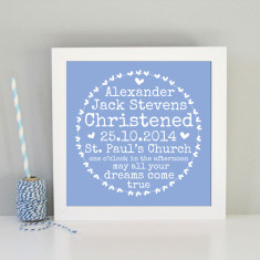 Framed personalised christening/baptism art print in blue or pink