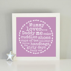 Personalised framed Mummy loves art print